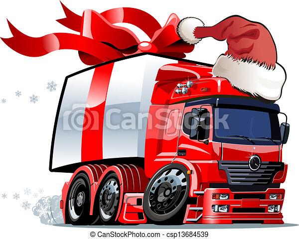 Cartoon christmas truck - csp13684539