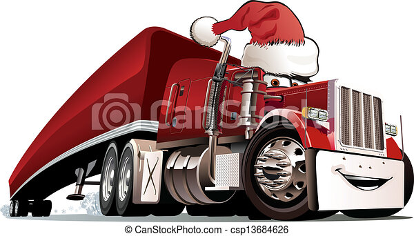 Cartoon christmas truck - csp13684626