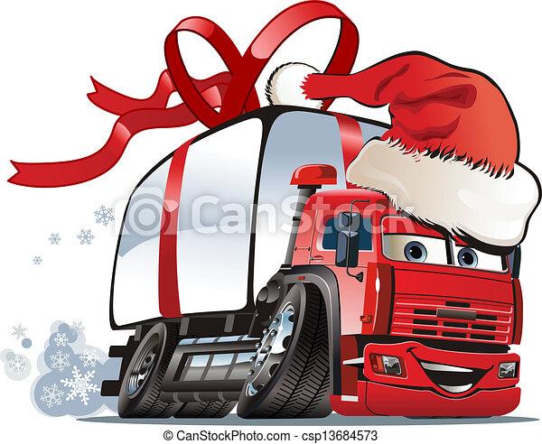 Cartoon christmas truck - csp13684573