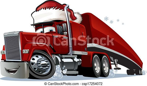 Cartoon Christmas Truck - csp17254072