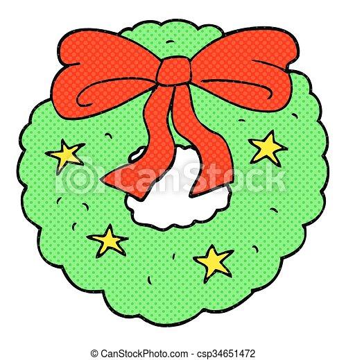 Freehand Drawn Cartoon Christmas Wreath