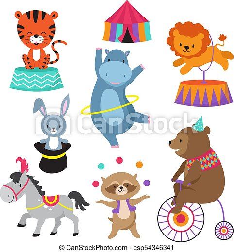 Cartoon Circus Animals For Child Birthday Card Vector Stock