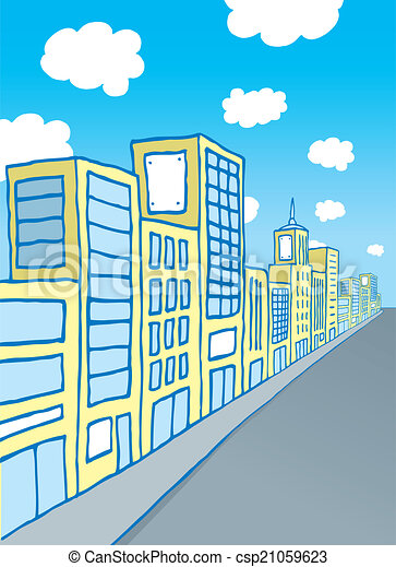 Cartoon city block - csp21059623