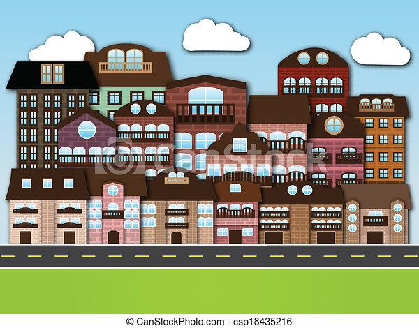 Cartoon city - csp18435216