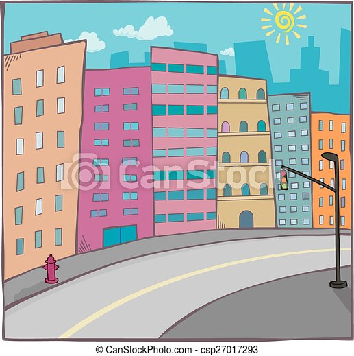 cartoon cityscape with road - csp27017293