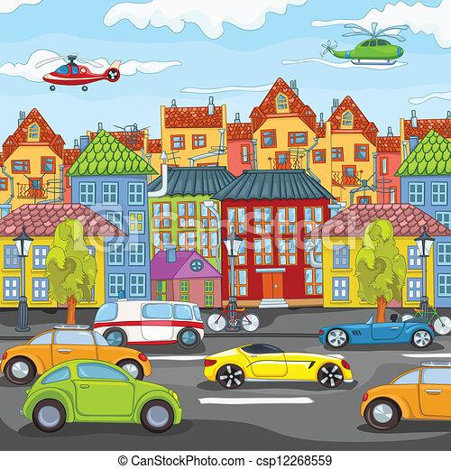 Dibujos de ciudad. - csp12268559