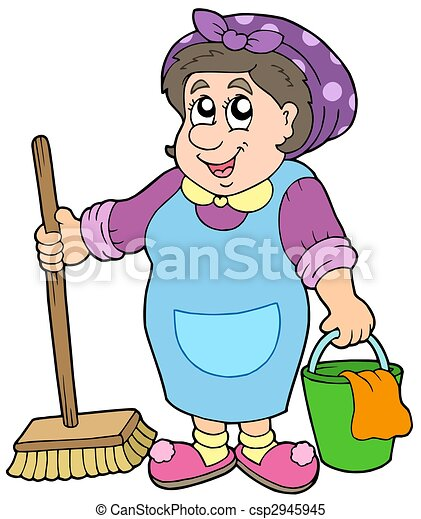 Cartoon cleaning lady - csp2945945