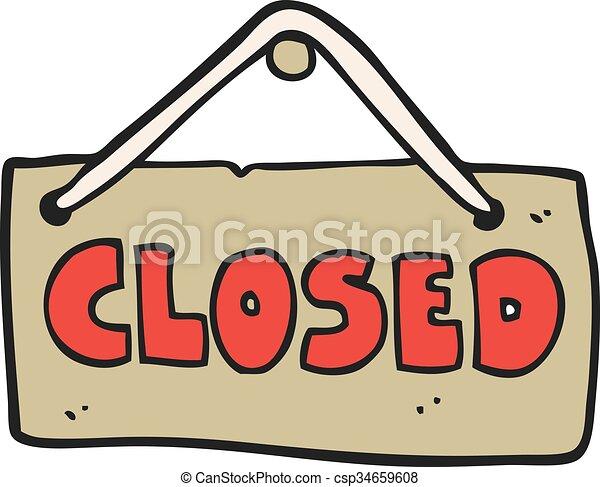 Black and white cartoon closed shop sign — Stock Vector ...  Cartoon Closed