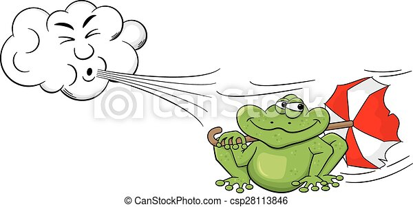 cartoon cloud blowing wind on a frog with umbrella - csp28113846