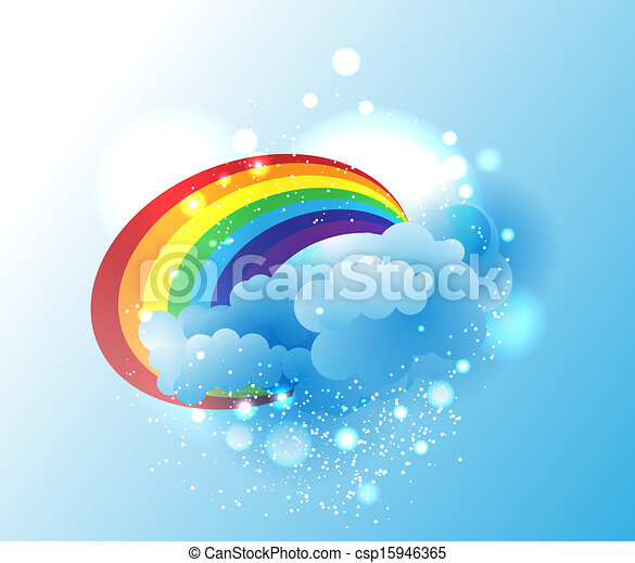 Cartoon clouds and rainbow - csp15946365
