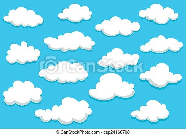 Cartoon clouds set on blue sky background - csp24166708