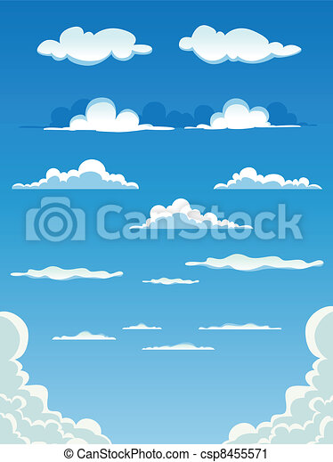 Cartoon Clouds Set - csp8455571