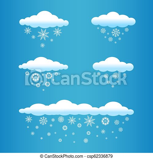 Set Of Cartoon Clouds With Snow Falls On Blue Sky Background Winter Snowfall Time Different Snowflake Falling From The