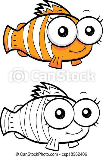 Cartoon Clown Fish An Illustration Of A Funny Cartoon Clown Fish