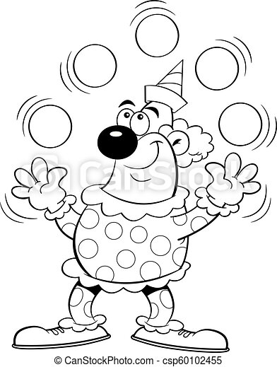 Cartoon Clown Juggling Balls Black And White Illustration Of A