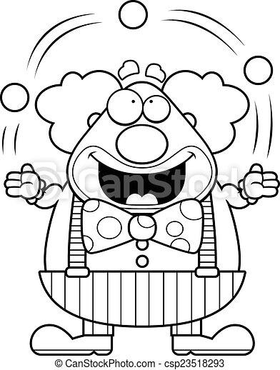 Cartoon Clown Juggling - csp23518293