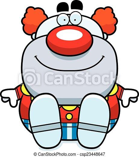 Cartoon Clown Sitting - csp23448647