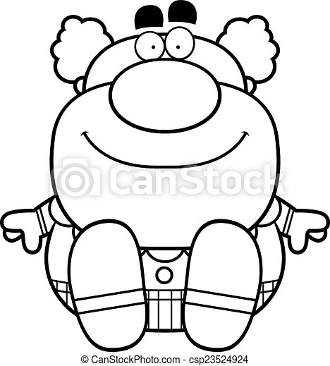 Cartoon Clown Sitting - csp23524924