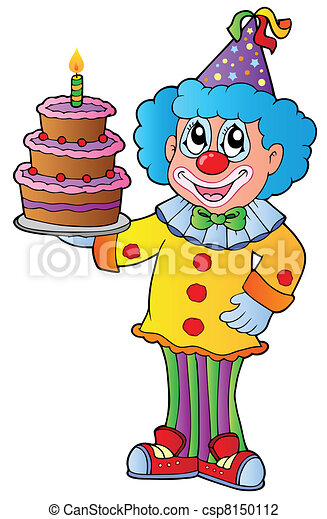 Cartoon clown with cake - csp8150112