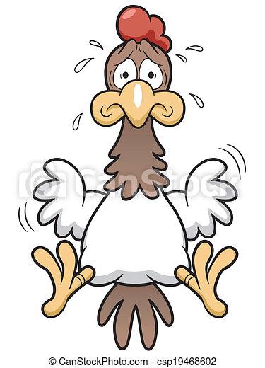 Cartoon Cock scared - csp19468602