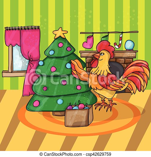 happy new year card cartoon cock with tree rooster vector illustration