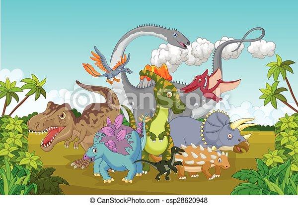 Cartoon Collection dinosaur happy - csp28620948