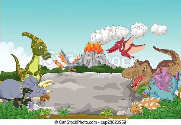 Cartoon Collection dinosaur in the  - csp28620959