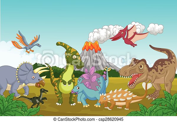Cartoon Collection dinosaur in the  - csp28620945