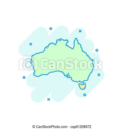 Australia Map Icon.Cartoon Colored Australia Map Icon In Comic Style Australia Sign Illustration Pictogram Country Geography Splash Business Concept