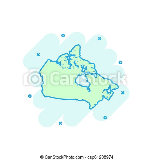 Colored Map Of Canada.Cartoon Colored Canada Map Icon In Comic Style Canada Sign Illustration Pictogram Country Geography Splash Business Concept