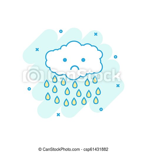 Cartoon colored cloud with rain icon in comic style  Clouds illustration  pictogram  Rain sign splash business concept