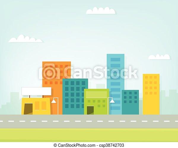 cartoon colorful city skyline - csp38742703
