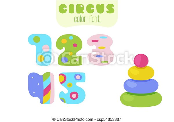 Cartoon colorful numbers 1, 2, 3, 4, 5 and pyramid toy - csp54853387