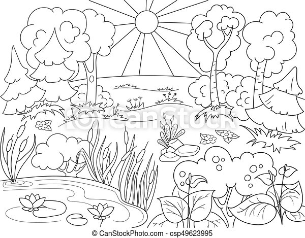 Cartoon Coloring Book Black And White Nature. Glade In The Forest With  Plants. Vector Illustration.