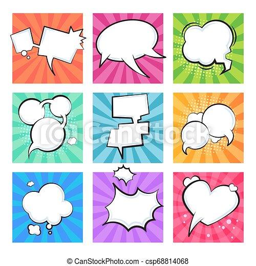 Cartoon comic bubbles. Speech retro balloons explosive cloud element text message shape comics balloon shapes. Vector text clouds set - csp68814068