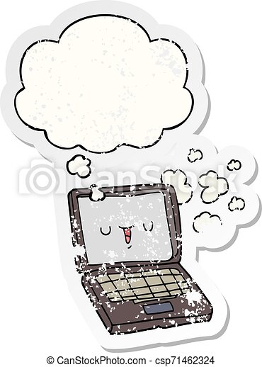 cartoon computer and thought bubble as a distressed worn sticker - csp71462324
