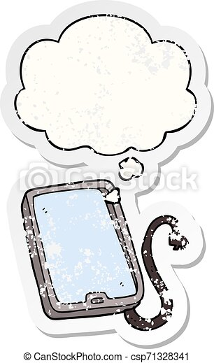 cartoon computer tablet and thought bubble as a distressed worn sticker - csp71328341