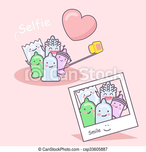 cartoon condom friends selfie - csp33605887