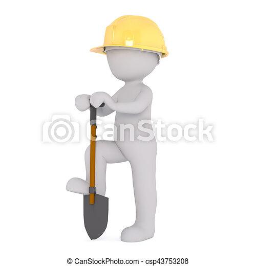 Cartoon Construction Worker Digging with Shovel - csp43753208
