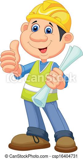 Cartoon Construction worker repairm - csp16404731