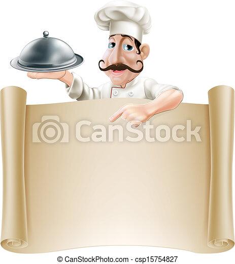 Cartoon Cook Menu Scroll - csp15754827