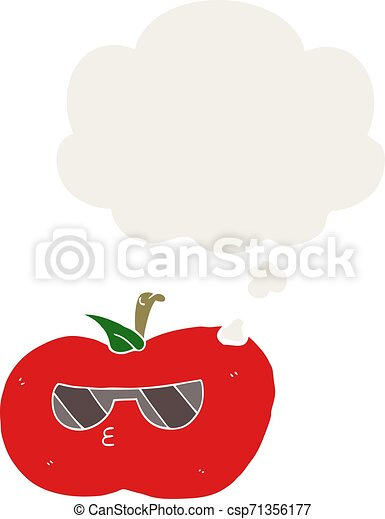 cartoon cool apple and thought bubble in retro style - csp71356177