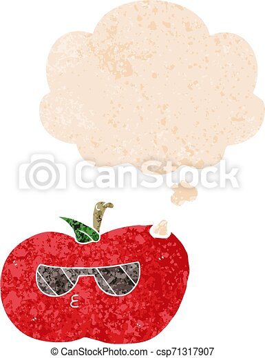 cartoon cool apple and thought bubble in retro textured style - csp71317907