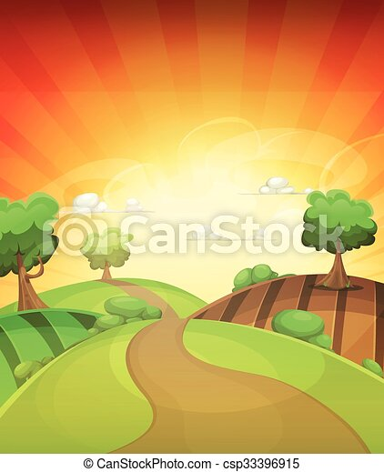 Cartoon country background in spring or summer sunset ...