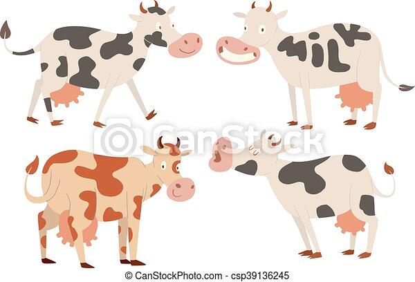 Cartoon Cow Characters Milk Bull With Calf Buffalo