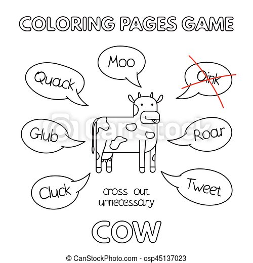 Cartoon cow coloring book. Funny cow kids learning game. vector ...