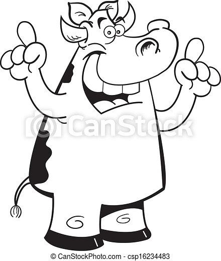 Cartoon cow with an idea - csp16234483