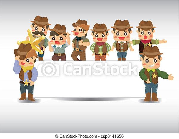 cartoon cowboy card - csp8141656