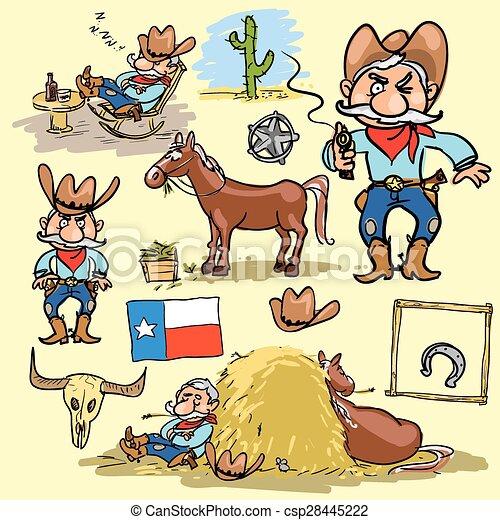 Cartoon cowboy set - csp28445222