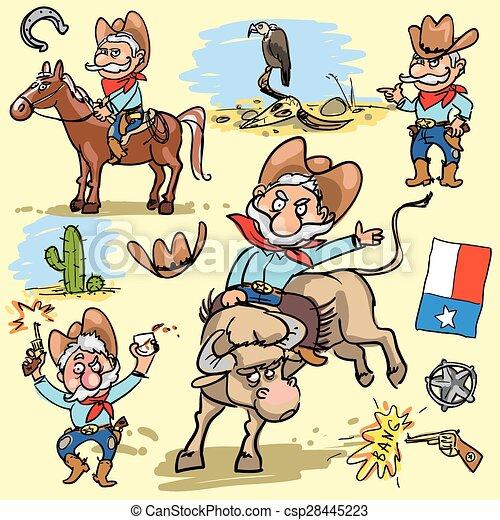 Cartoon cowboy set - csp28445223
